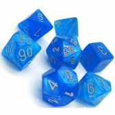 Bright Blue & Silver Velvet Polyhedral 7 Dice Set